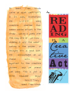 Bent Tuba - Reading is a Creative Act - free bookmark