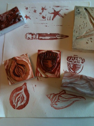 Hand-carved rubber stamps by Bent Tuba Studio
